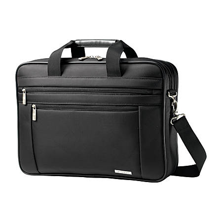 """Samsonite Classic Carrying Case (Briefcase) for 17"""" Notebook - Black - Ballistic Fabric - Handle, Shoulder Strap - 12.5"""" Height x 17.8"""" Width x 4.5"""" Depth"""