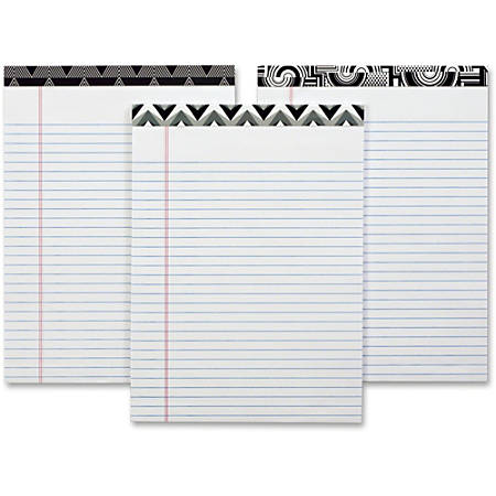 "TOPS Fashion Writing Pads - Letter - 50 Sheets - Double Stitched - Ruled Red Margin - 15 lb Basis Weight - 8 1/2"" x 11 3/4"" - 1.2"" x 11.8""8.5"" - White Paper - Black/White Binder - Perforated, Acid-free - 6 / Pack"