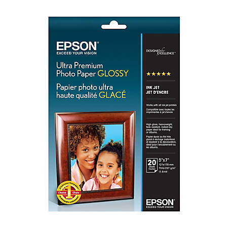 "Epson® Ultra Premium Glossy Photo Paper, 5"" x 7"", Pack Of 20"