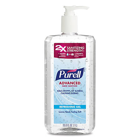 Purell® Gel Instant Hand Sanitizer, 33.8 Oz