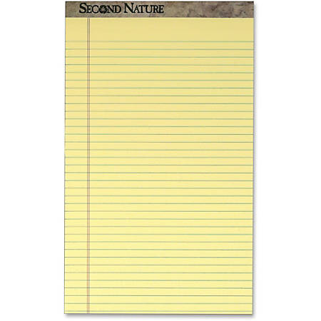 """TOPS Second Nature Ruled Canary Writing Pads, Perforated, 50 Sheets Per Pad, 8 1/2"""" x 14"""", Canary Paper, Pack Of 12"""