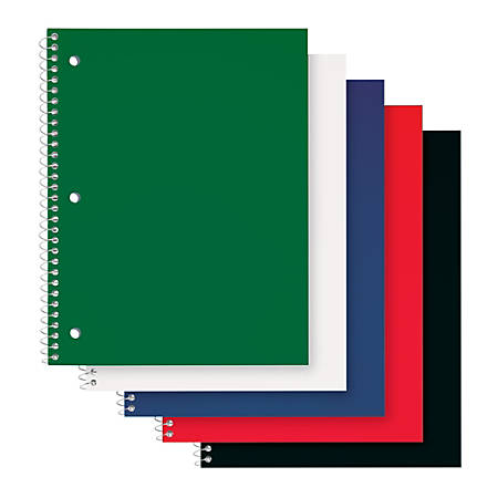 """Office Depot® Brand Poly Cover Wirebound Notebook, 8"""" x 10 1/2"""", 1 Subject, Wide Ruled, 70 Sheets, Assorted Colors"""