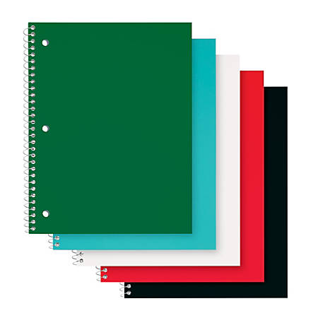 """Office Depot® Brand Poly Cover Wirebound Notebook, 8"""" x 10 1/2"""", 1 Subject, College Ruled, 70 Sheets, Assorted Colors"""
