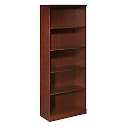 OfficeMax Premium Mahogany 5-Shelf Bookcase