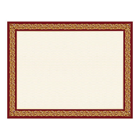 """Geographics® Certificates, 8 1/2"""" x 11"""", Burgundy Frame Gold Foil, Pack Of 15"""