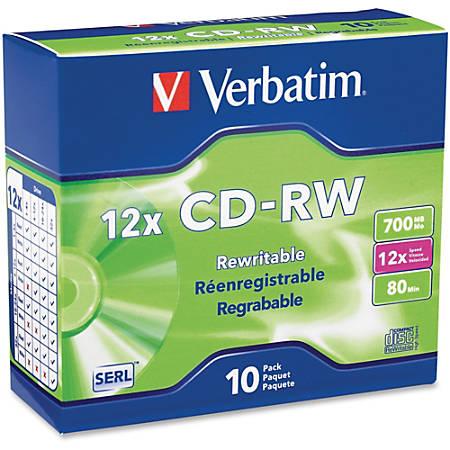 Verbatim® CD-RW Disc Spindle, Pack Of 10