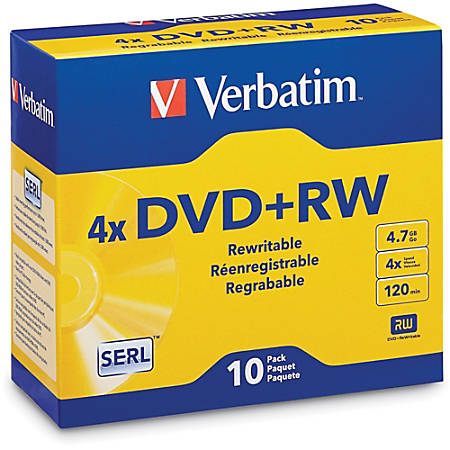 Verbatim® QZ2776 DVD+RW Disc Spindle, Silver, Pack Of 10