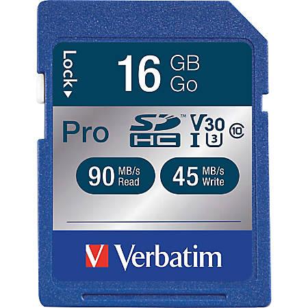 Verbatim 16GB Pro 600X SDHC Memory Card, UHS-1 U3 Class 10 - Class 10/UHS-I - 1 Card - 600x Memory Speed