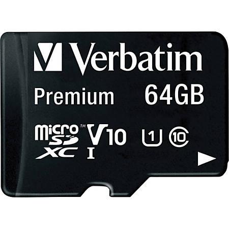 Verbatim™ Premium UHS-I Class 10 MicroSDXC Memory Card With Adapter, 64GB