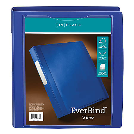 "Office Depot® Brand Everbind™ D-Ring View Binder, 1 1/2"" Rings, Blue"