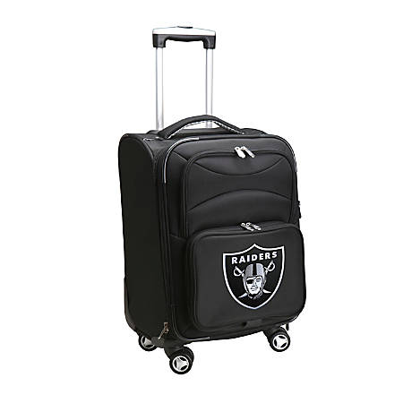 """Denco ABS Upright Rolling Carry-On Luggage, 21""""H x 13""""W x 9""""D, Oakland Raiders, Black"""