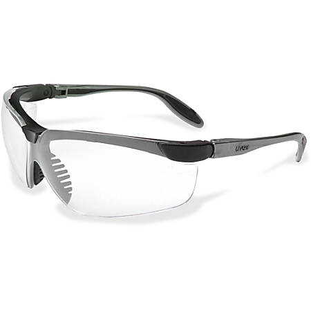 Uvex Safety Genesis Slim Clear Lens Safety Eyewear - Scratch Resistant, Flexible, Padded, Comfortable, Ventilation, Adjustable Temple, Wraparound Lens, Anti-fog - Clear, Pewter - 1 Each