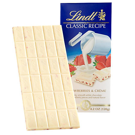 Lindt Classic Recipe Bars, Strawberries & Cream, 4.2 Oz, Box Of 12