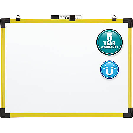 "Quartet® Industrial Magnetic Dry-Erase Whiteboard, Steel, 48"" x 36"", White, Yellow Plastic Frame"