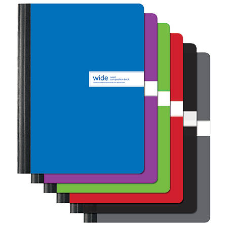 "Office Depot® Brand Solid Color Composition Books, 9 3/4"" x 7 1/2"", Wide Ruled, 80 Pages (40 Sheets), Assorted Colors"