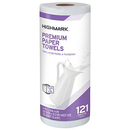 Highmark® Premium 2-Ply Tear-A-Size Kitchen Roll Towels, White, 121 Towels Per Roll, Case Of 24 Rolls