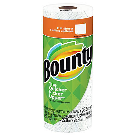 """Bounty 2-Ply Paper Towels, 11"""" x 10-1/4"""", White, Pack Of 30 Rolls"""