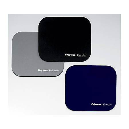 """Fellowes Microban® Mouse Pad - Black - 8"""" x 9"""" x 0.1"""" Dimension - Black - Rubber Base, Polyester Surface - Tear Resistant, Wear Resistant, Skid Proof - TAA Compliant"""