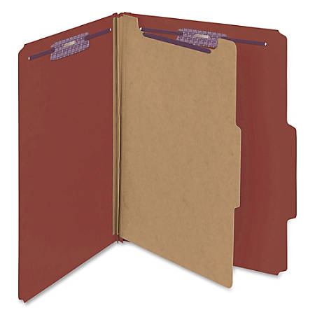 "Smead® Classification Folders, Pressboard With SafeSHIELD® Fasteners, 1 Divider, 2"" Expansion, Letter Size, 60% Recycled, Red, Box Of 10"