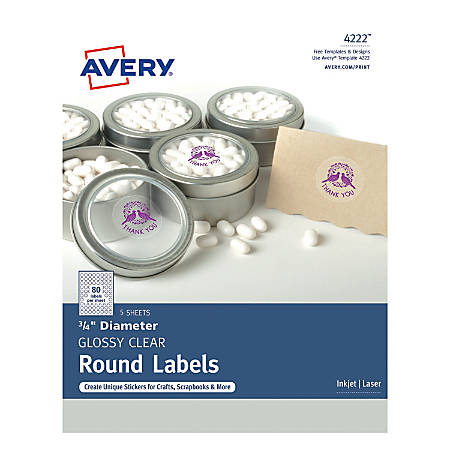 "Avery® Print-to-the-Edge Permanent Labels, 4222, 3/4"", Glossy Clear, Pack Of 400"
