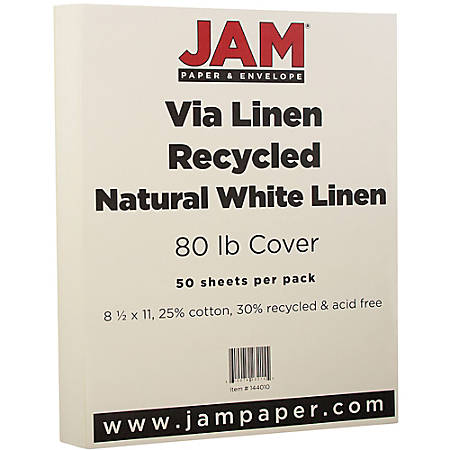 "JAM Paper® Cover Card Stock, 8 1/2"" x 11"", 80 Lb, 30% Recycled, Strathmore Natural White Linen, Pack Of 50 Sheets"