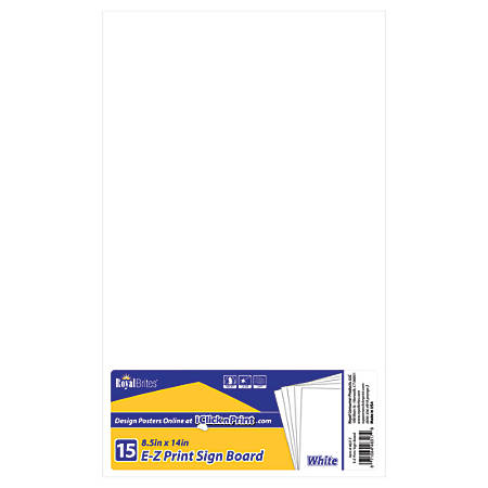 "Geographics® E-Z Print Sign Boards, 8 1/2"" x 14"", White, Pack Of 15"