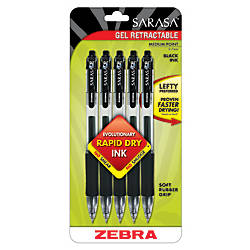 Zebra Sarasa Retractable Gel Pens Black