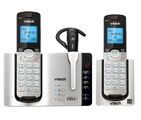 VTech® Connect-To-Cell DECT 6 0 Expandable Cordless Phone System With  Digital Answering Machine, Silver Item # 123734