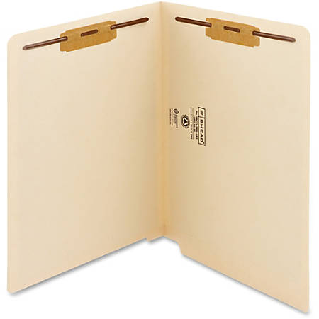 """Smead WaterShed®CutLess® End Tab Fastener Folders - Letter - 8 1/2"""" x 11"""" Sheet Size - 2 x 2B Fastener(s) - End Tab Location - 11 pt. Folder Thickness - Manila - Recycled - 50 / Box"""