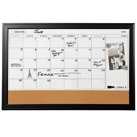 """Quartet® Home Décor Magnetic Combination Calendar Board, 23"""" x 35"""""""