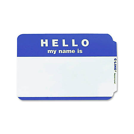 Maco® Name Badges, Hello, Blue, Pack Of 100