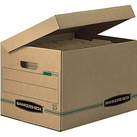 """Bankers Box® Earth Series™ Systematic® 100% Recycled Kraft Storage Boxes, Letter/Legal, 10"""" x 12"""" x 15"""", Pack Of 12"""