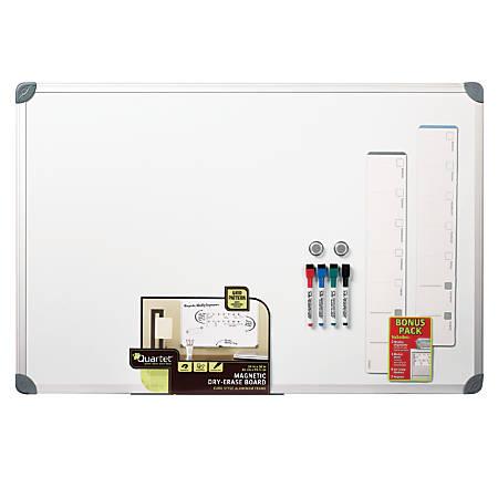 "Quartet® Euro-Style Magnetic Dry-Erase Board, 24"" x 36"", Aluminum Frame"