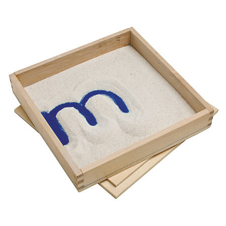 "Primary Concepts Letter Formation Sand Tray, 8""H x 8""W x 1 1/2""D, Brown/Blue, Pack Of 4"