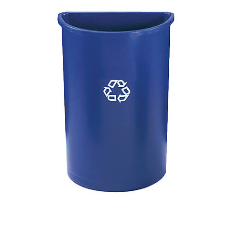 "Rubbermaid® Half-Round Plastic Recycling Container, 28"" x 21"" x 11"", 21 Gallons, Blue"