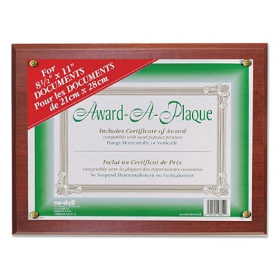 Nu Dell Woodgrain Award A Plaque 13 x 10.50 Frame Size Holds 11 x ...