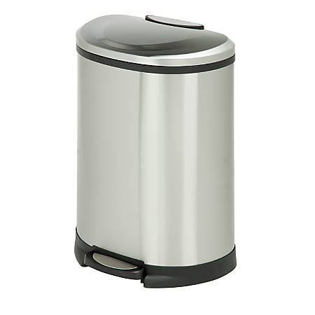 "Honey-Can-Do Half-Moon Stainless-Steel Step Trash Can, 13.2 Gallons, 26 13/16""H x 14 3/8""W x 18 15/16""D"
