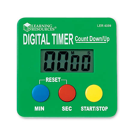 "Learning Resources Digital Timer Countdown/Up, 2 3/4"" x 2/3/4"", Assorted Colors, Pack Of 2"
