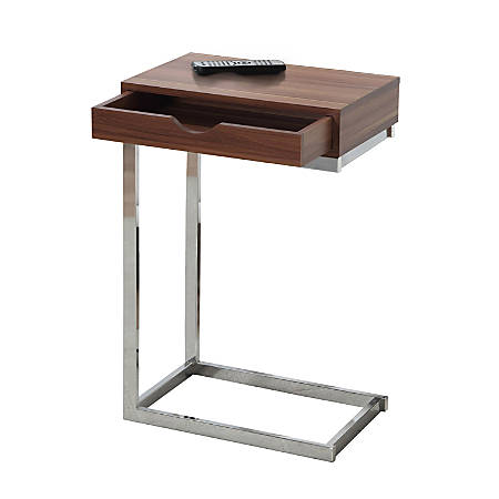 Monarch Specialties Accent Table With Side Drawer, Walnut/Chrome