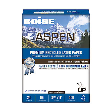 Boise® ASPEN® Laser Paper, 3-Hole Punch, Letter Paper Size, 96 Brightness, 24 Lb, 30% Recycled, FSC® Certified, White, Ream Of 500 Sheets