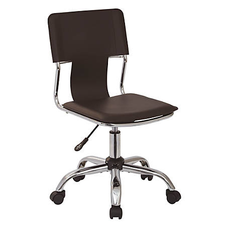 Ave Six Carina Vinyl Mid-Back Task Chair, Espresso/Silver