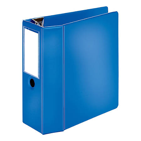 "[IN]PLACE® Heavy-Duty D-Ring Label Holder Reference Binder, 5"" Rings, 100% Recycled, Blue"
