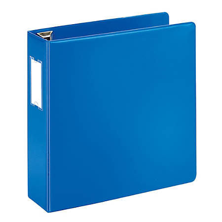 "[IN]PLACE® Heavy-Duty D-Ring Label Holder Reference Binder, 3"" Rings, 100% Recycled, Blue"