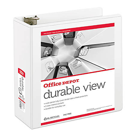 """Office Depot® Brand Durable View D-Ring Binder, 5"""" Rings, 39% Recycled, White"""