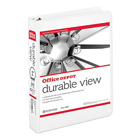 "Office Depot® Brand Durable View Round-Ring Binder, 1"" Rings, 8.5"" x 5.5"", 50% Recycled, White"