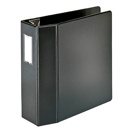 """[IN]PLACE® Heavy-Duty D-Ring Reference Binder With Label Holder, 4"""" Rings, 45% Recycled, Black"""