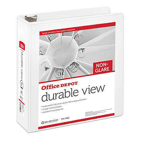 "Office Depot® Brand Durable Nonglare View Binder, 3"" Rings, 100% Recycled, White"