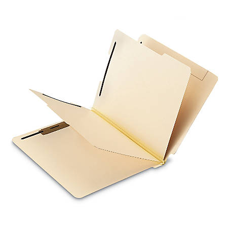 Office Depot® Brand End-Tab Classification Folders With 6 Fasteners, Letter Size, Manila, Box Of 10