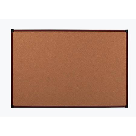 """Office Depot® Brand Framed Cork Board, 72"""" x 48"""", Mahogany, Aluminum Frame"""