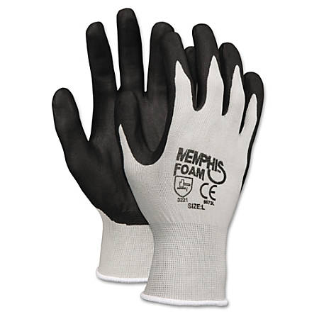 MCR Safety Memphis Economy Foam Nitrile Gloves, Large, Black/Gray, Pack Of 12